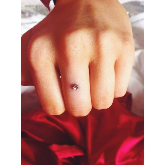 Dermal Anchor Finger Bling! (Customer Photo)