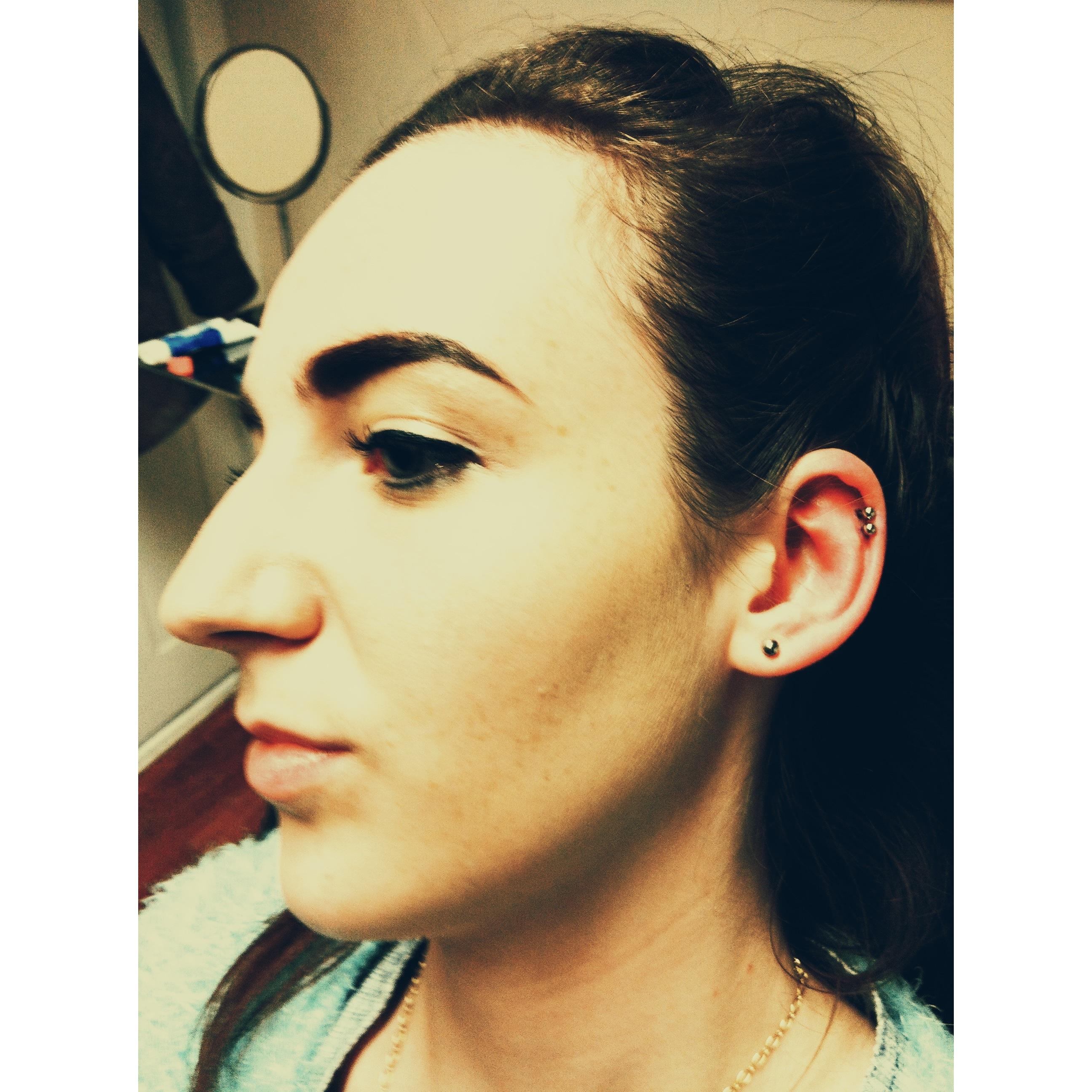 Tessa's Double Top Ear Piercings