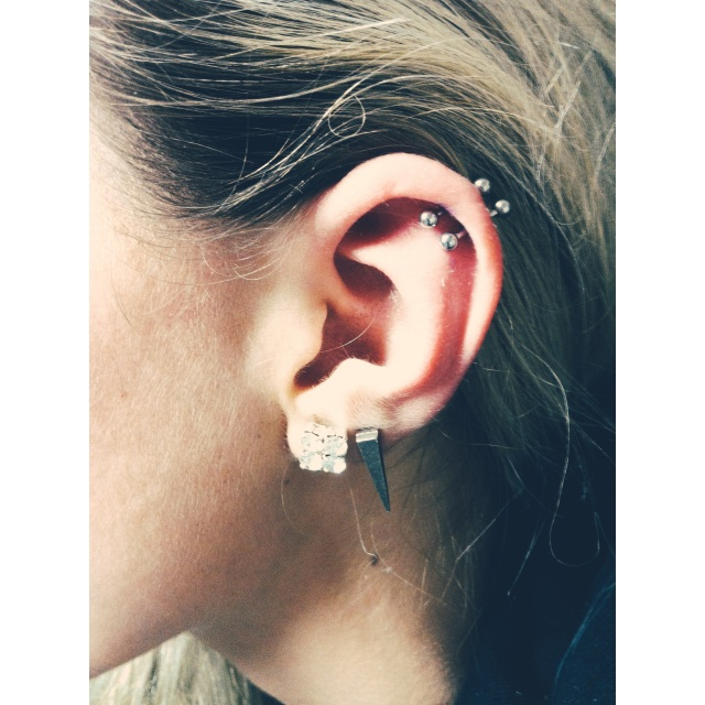 Double Top Ear Piercings (Angled)