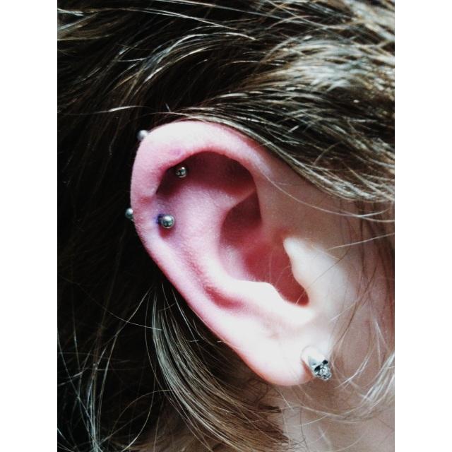 Double Top Ear Cartilage Piercings