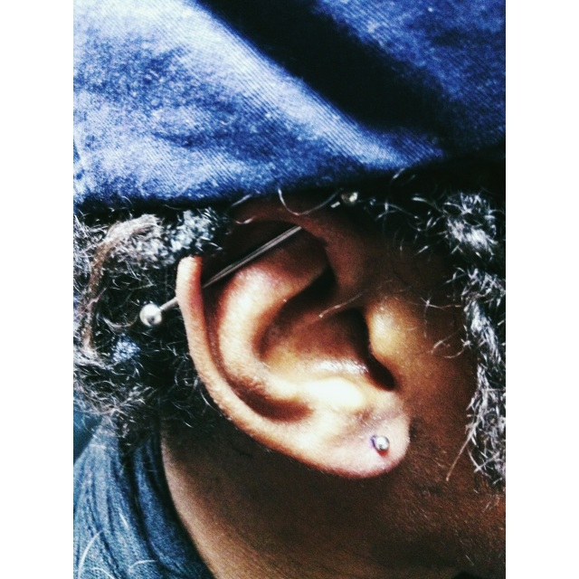 Scaffold Piercing & Right Side Lobe Piercing
