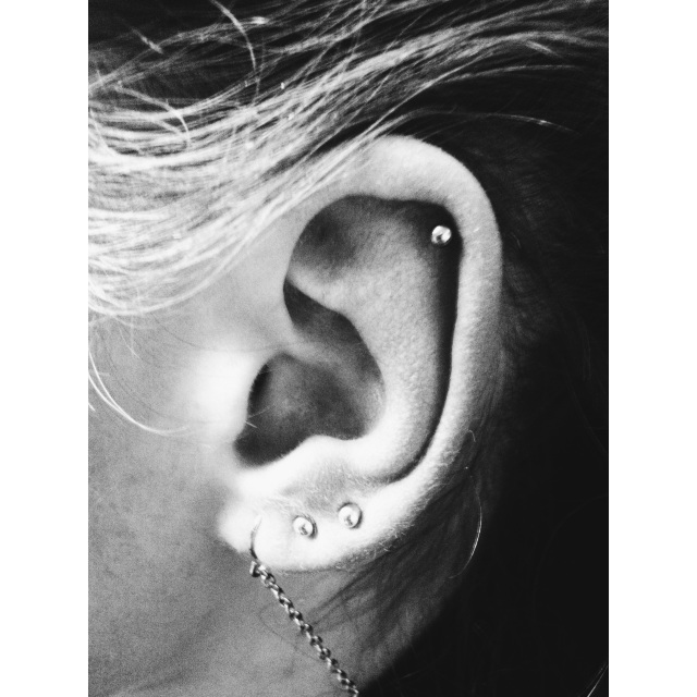 Top Ear Cartilage, Second & Third Lobe Piercings