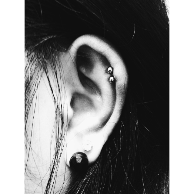 Double Top Ear Cartilage Piercings
