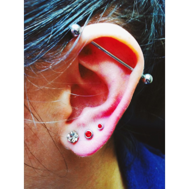 Georgie's Scaffold & Lobe Piercings