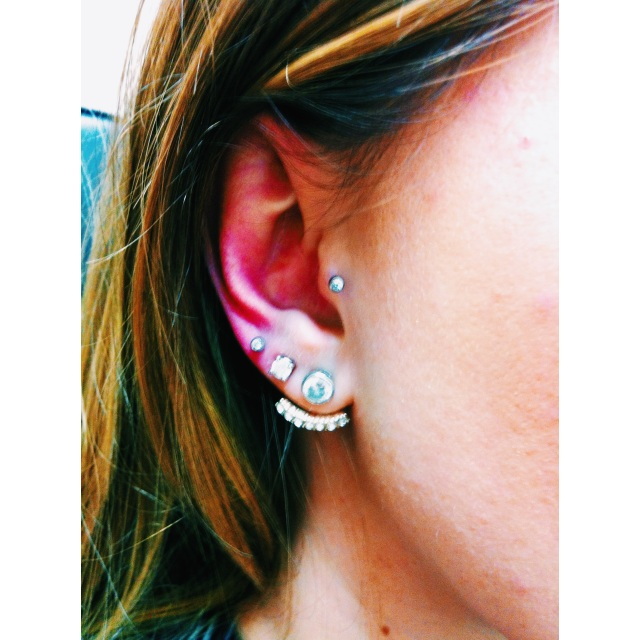 Rachel's Tragus & Third Lobe Piercings