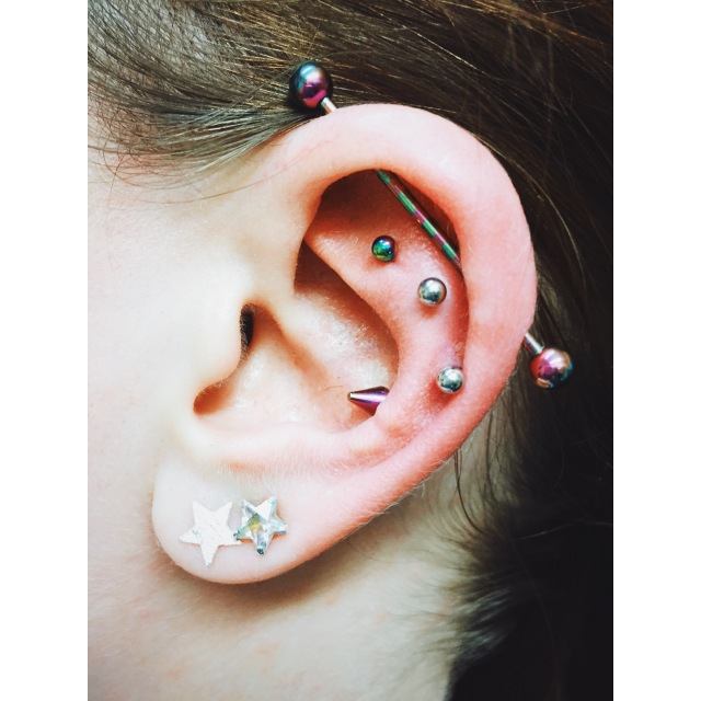 Sophia's Double Helix Piercings