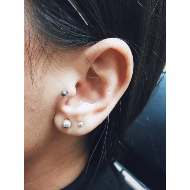 G's Tragus & Lobe Piercings