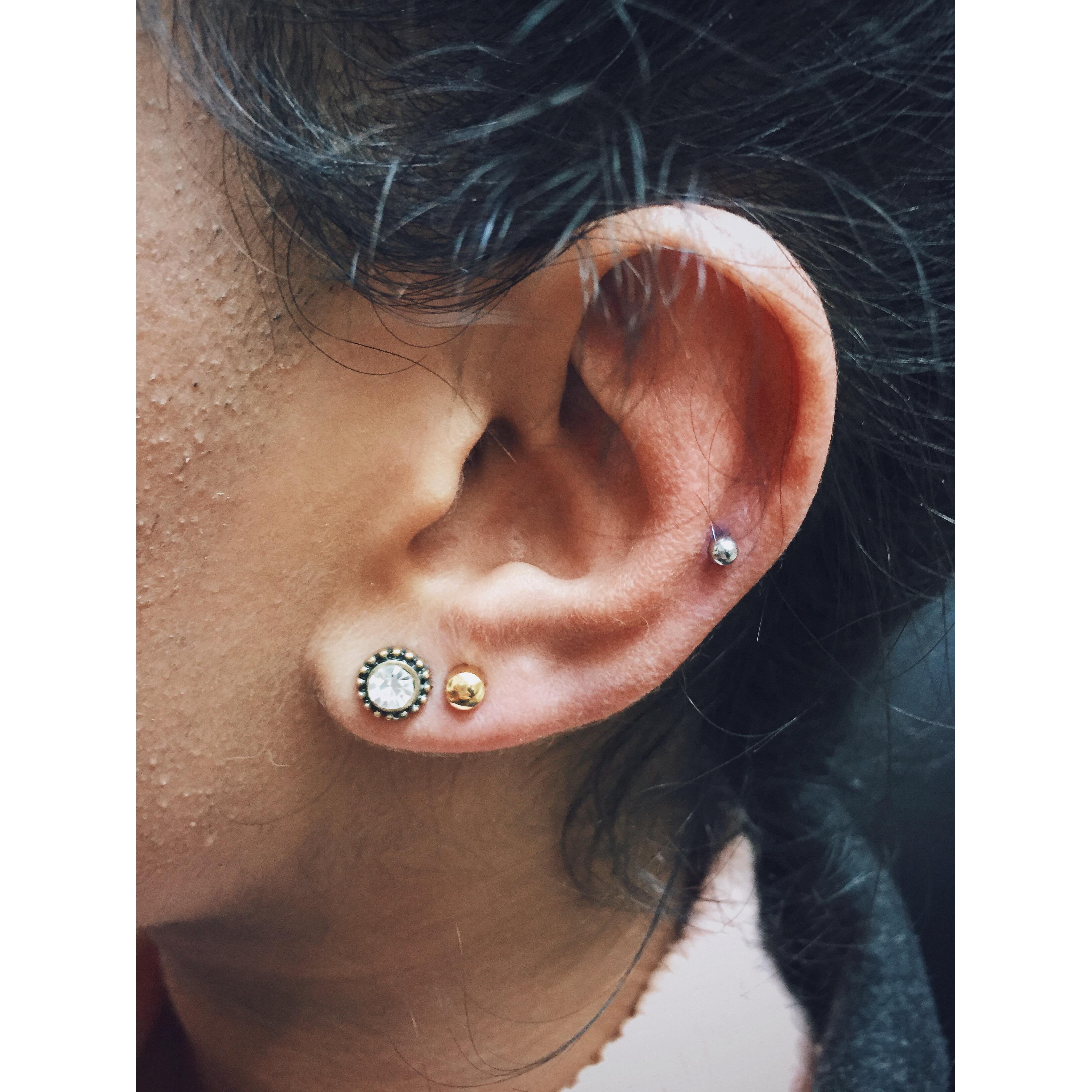 B's Mid Ear Cartilage & Lobe Piercings
