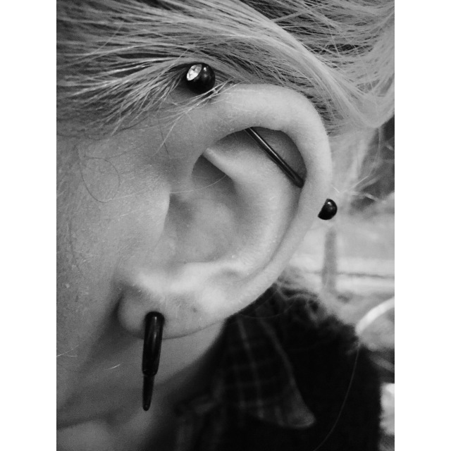 Black & White Industrial Piercing