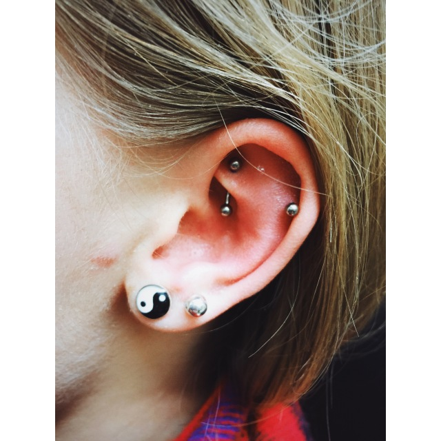 Daisy's Rook & Helix Double Piercings