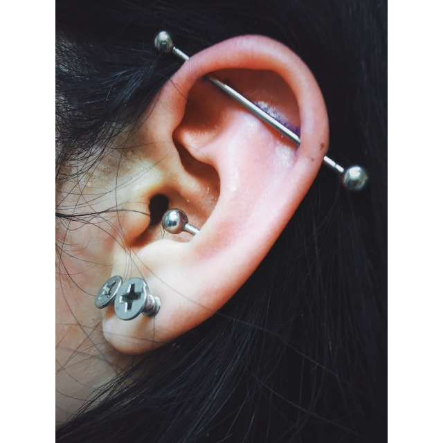 Layla's Industrial Ear Piercings