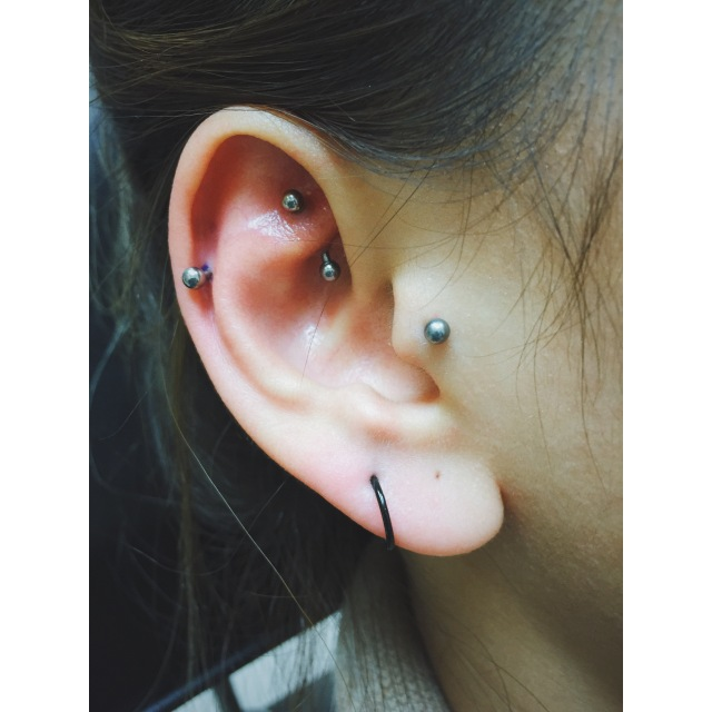 Efina's Healed Rook & Fresh Helix Piercings