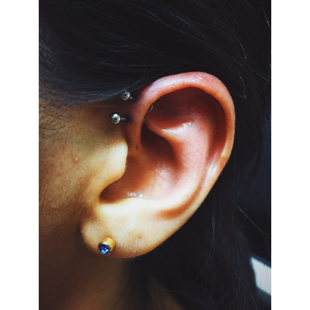 Natalia's Double Inner-Pinner/Forward-Helix Piercings I