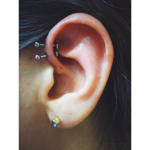 Natalia's Double Inner-Pinner/Forward-Helix Piercings II