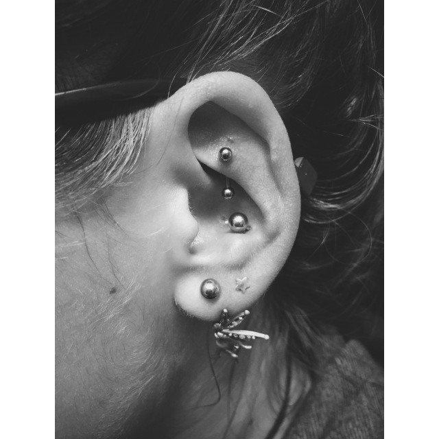Alicja's Rook, Conch & Lobe Piercings