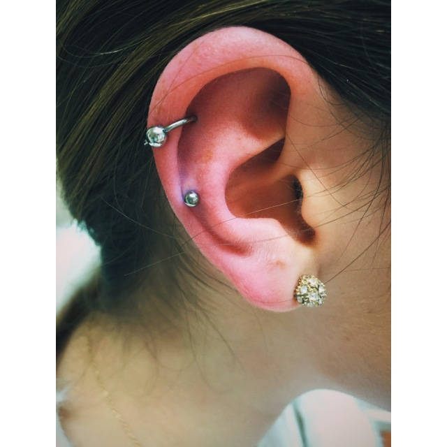 Faith's Helix Piercings